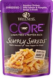 Wellness CORE Simply Shreds Grain-Free Chicken, Wild Salmon & Pumpkin Wet Dog Food Topper